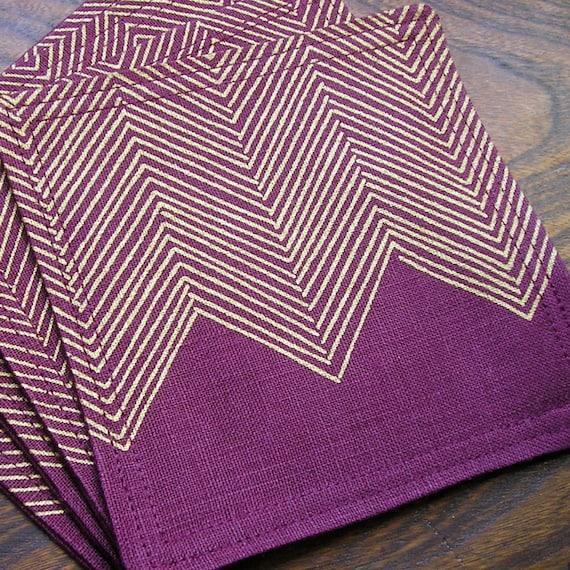Coasters - Set of 4 - Plum Purple Linen - Gold Herringbone Screenprint