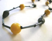 Mustard Yellow and Black Beaded Necklace