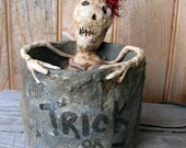 "Paper Mache ""Trick or Treat"" Skeleton Container PM350"