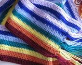 Hand Crochet Scarf, Unisex Multi Color Hand Crochet Scarf, Ultra Soft Wool Hand Crochet Scarf, Rainbow Scarf