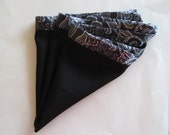 Pocket Square: Mens Black Silky with French Paisley Border Unisex Pocket Square