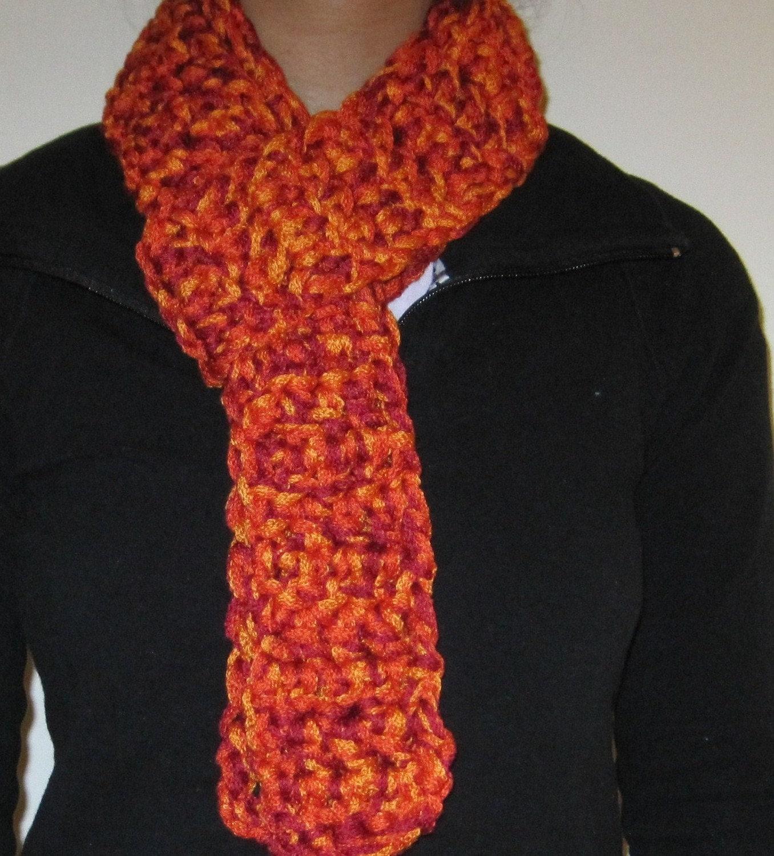 sale salsa ribbon yarn scarf handmade crochet orange