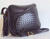 Vintage Black  Woven Leather Cross Body Bag with Fringes