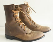 Sz  7 1/2  Vintage Granny JUSTIN Laced up Combat Boots