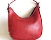 RED Vintage Crossbody Distressed Leather Bag
