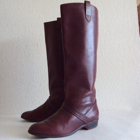 vintage etienne aigner maroon leather boots by