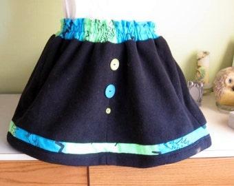 Handmade Black Fleece Mini skirt With Vintage Buttons
