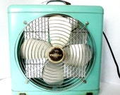 Mid Century Turquoise Metal Box Fan