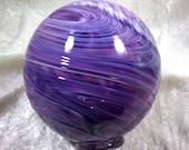 Hand blown glass float (medium) - Purple and white swirl