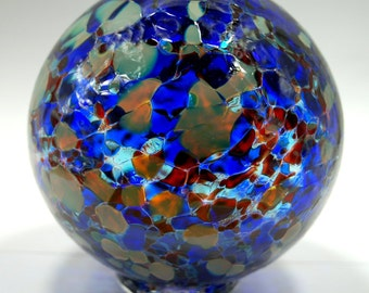 Hand blown glass float (medium) - blue, ruby mix