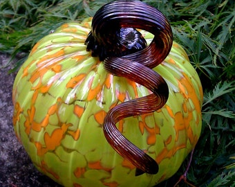 Hand blown glass Pumpkin - Lime and mandarin orange with gold brown stem