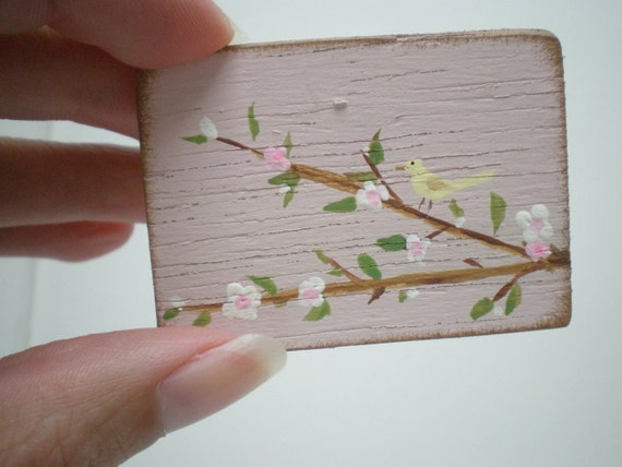 Canary on Cherry Tree  Painting  Dollhouse 1 Inch Scale Handpainted