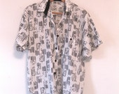 Vintage 80s Abstract Print Short Sleeve Pocket Shirt UNISEX