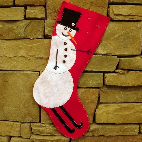 Extra Large Christmas Stocking Skiing Snowman design - Almost 2 feet long - Ready to ship