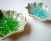 Green Maple Leaf Ceramic Bowl, ceramic plate, sauce dish, oil dish, mini, small, decoration, soap dish, iammie