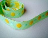 Green Trim, Glittering, fabric, ribbon, 1 YARD (90 cm), 0.5 inch wide, cards, decor, gift wrap, bow, poka dots, SALE, discount
