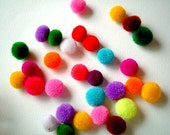 Mini Assorted Yarn Pom Poms: handmade, beads, buttons, sweets, yarn beads, yarn buttons, decoration, baby, toy, 100 poms, miniature, small