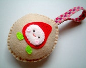 Christmas Ornament, Pin Cushion, plush, cute, kawaii, pink, brown, green, red, felt, kid, girl, boy, home, decor, toy, baby, doll, OOAK