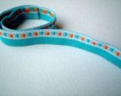 Fabric Trim, blue, teal, orange, woven, 1 YARD, 90 cm, 1/2 inch, cute, fabric ribbon, craft, cards, decor, gift, bow, SALE, discount