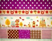 Matryoshka, Russian Doll, Cotton Fabric, One FAT QUARTER, cute, kawaii, poka dot, purple, violet, craft, flowers, children, discounted, SALE
