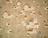 Brown, Cotton Fabric, One FAT QUARTER, Cute, Kawaii, Little French Village, house, home, cartoon, craft, castle, iammie, SALE, discount