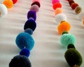Party Yarn Pom Pom Garland, pom poms, yarn balls, purple, green, yellow, red, purple, orange, mobile, blue, brown, pink, 7 yards, 21 feet
