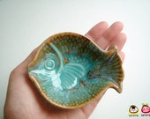 Light Blue Fish Ceramic Plate, ceramic bowl, ceramic dish, sauce, small, ceramic fish, decoration, decor, decorative, brown, water, iammie