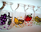 Mini Hand-Painted Jar, Set of FOUR, fruits, poka dots, Gift Box : strawberry, banana, lemon, grapes, red, green, purple, decoration, iammie