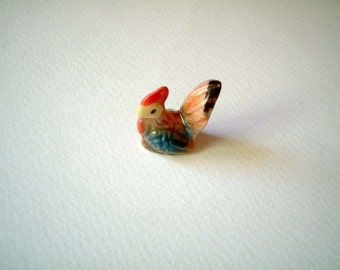 Miniature Ceramic Chicken, Rooster, Blue Wings, miniature animal, chick, mini animal, ceramic animal, tiny animal, miniature chicken