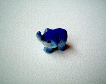 Miniature Elephant, ceramic elephant, ceramic animal, miniature animal, blue elephant, mini, little, tiny, elephant figure