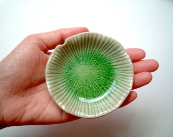 Ceramic Plate: Round Green Lotus Leaf , sauce dish, light green, small, small plate, little, decoration, decal, iammie