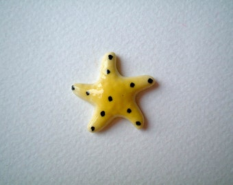 Miniature starfish, miniature animal, Yellow, Black Dots, Ceramic Starfish, little, small, tiny, porcelain, mini starfish, iammie