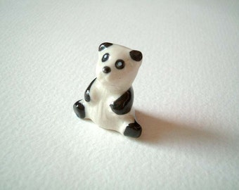 Miniature Ceramic Panda Figure: tiny animal, little, toy, ornament, mini ceramic, decoration, ceramic animal, miniature animal