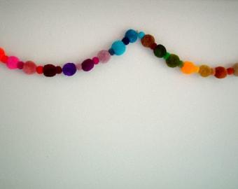 Pom Pom Garland, yarn pom pom garland, yarn ball, scarf, yellow, red, purple, mobile, blue, cream, wreath, carnival, fancy, 9 feet, 3 yards