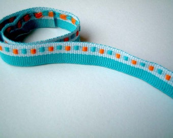 Fabric Trim, blue, teal, orange, woven, 1 YARD, 90 cm, 1/2 inch, cute, fabric ribbon, craft, cards, decor, gift, bow, SALE, discount