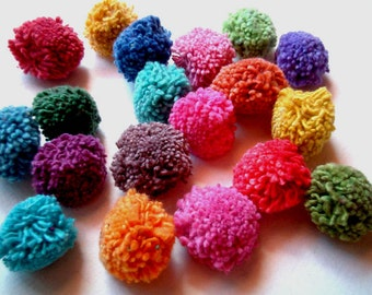 Yarn Pom Poms, pompom, party pom pom, yarn pompom, cotton, wedding, birthday, party decoration, button, soft, 100 poms, handmade, eco