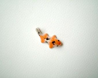 Miniature Ceramic Koi Carp, miniature carp, miniature fish, orange, white, little, mini, terrarium, clay, miniature fish, tiny, small, fish