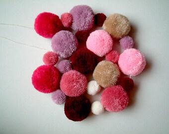 Pom Pom Garland, pom pom wreath, yarn pom pom, balls, kid, pink, purple, decoration, party pom pom, pompom, children, brown, custom, cute