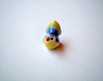 Little Bright Blue and Yellow Ceramic Bird, mini animal, ceramic animal, tiny animal, small animal, little animal, decoration, small, little