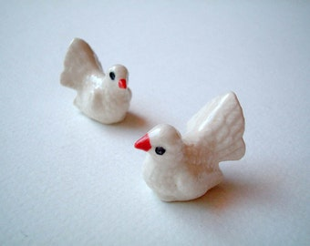 Little White Ceramic Bird: mini animal, ceramic animal, tiny animal, small animal, little animal, decoration, small, little, mini, dove