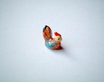 Mini Ceramic Rooster, ceramic chicken, chicken figure, chicken figurine, ceramic animal, wings, ceramic chicken, mini clay, little, tiny