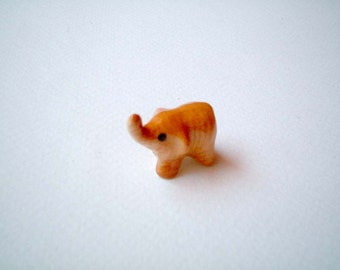 Miniature Brown Ceramic Elephant Figure, mini, ceramic animal, tiny, animal, small, little, decoration, miniature animal, dollhouse, iammie