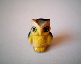 Miniature Owl, Brown Yellow with Blue Wings, Ceramic Owl, tiny animal, mini animal, miniature ceramic, tiny ceramic, little owl, decoration