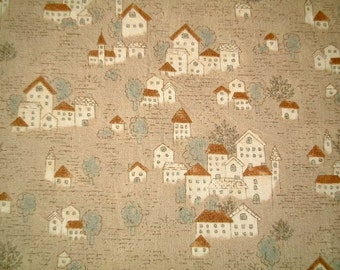 Brown, Cotton Fabric, One FAT QUARTER, Cute, Kawaii, Little French Village, house, home, cartoon, craft, castle, iammie, SALE, discount
