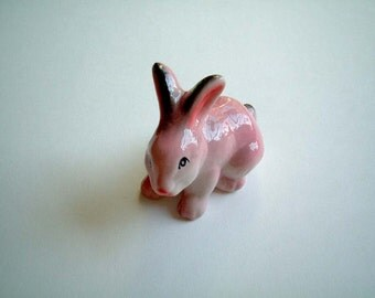 Pink Ceramic Rabbit figure, bunny figure, bunny figurine, rabbit figurine, ceramic bunny, hare, spring, totem, decoration, animal figure