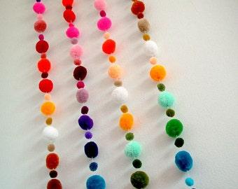 Pom Pom Garland, wholesale, yarn pom pom, pompom, yarn ball, custom, mobile, nursery, colorful, carnival, party, 3 yard, 15 feet, 10 strands