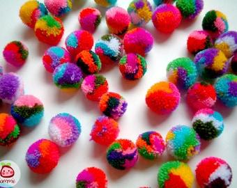 Mini Mix Yarn Pom Poms, miniature, party pom, pompom, colorful, kid, children, yarn ball, bead, colorful, tiny, 50 pom poms, tiny, small