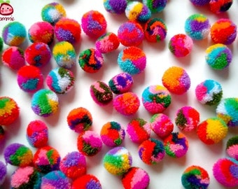 Mini Yarn Pom Poms, miniature, party pom, pompom, colorful, kid, children, multi color, bead, iammie, tiny, 200 pom poms, tiny, handmade