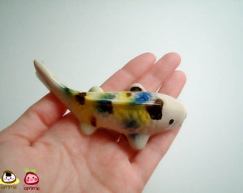 Ceramic Koi Carp Figure, fish figure, blue, yellow, white, ceramic animal, ceramic fish, tiny animal, small, decoration, miniature animal