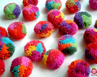 Party Pom Poms, wholesale, pompom, yarn pom pom, pompom, cotton, wedding, birthday, party decoration, button, yarn bead, 300 poms, handmade